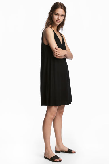 V-neck jersey dress - Black - Ladies | H&M CN