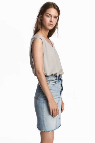 Lyocell top - Light grey - Ladies | H&M