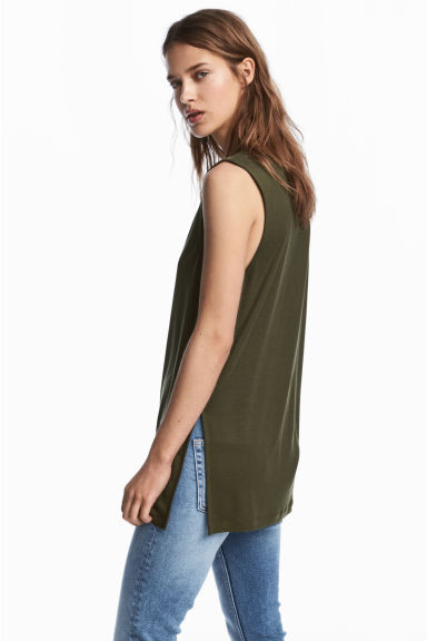 Lyocell top - Khaki green -  | H&M