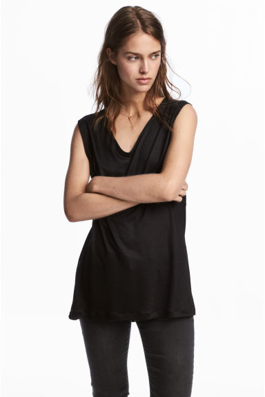 Lyocell top - Black - Ladies | H&M