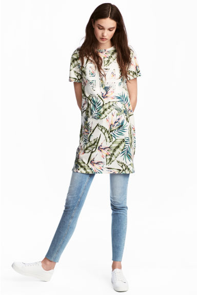 T-shirt dress - White/Leaf -  | H&M