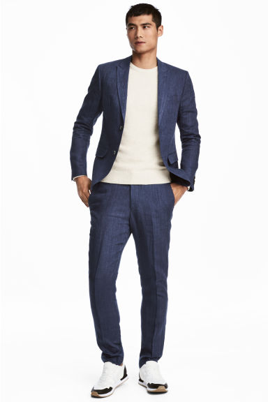 Linen suit trousers Slim fit - Navy blue - Men | H&M