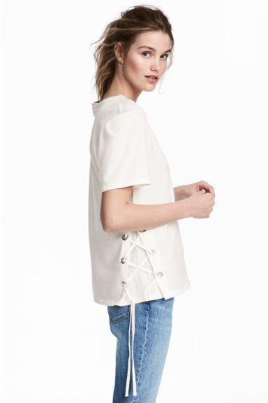 Top with lacing - White -  | H&M