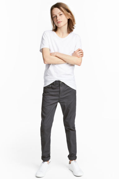 Twill trousers Slim fit - Dark grey - Kids | H&M CN