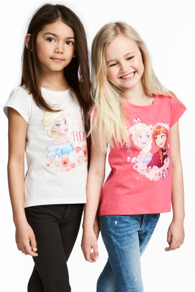 2-pack jersey tops - White/Frozen - Kids | H&M CN