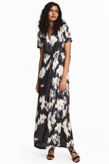 Long satin dress - Dark grey/Patterned -  | H&M