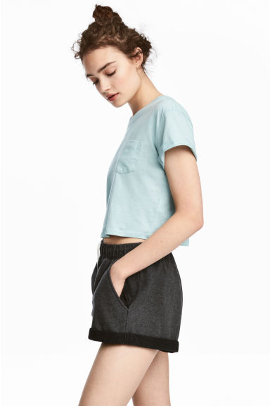 Cropped T-shirt - Mint -  | H&M