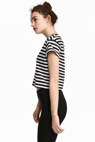 Cropped T-shirt - Black/White/Striped -  | H&M