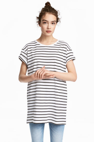 Long T-shirt - White/Striped - Ladies | H&M
