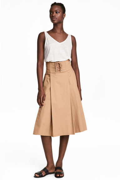 Flared skirt - Beige - Ladies | H&M CN