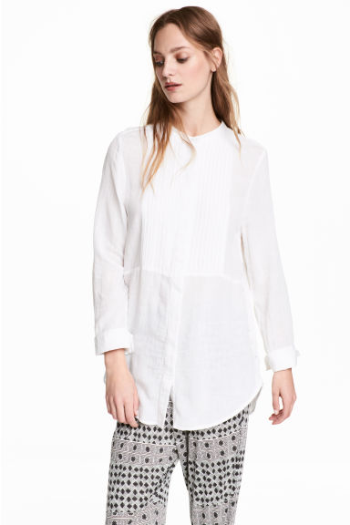 Blouse with pin-tucks - White -  | H&M
