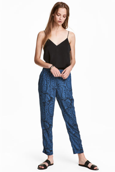 Pull-on trousers - Blue/Paisley - Ladies | H&M GB