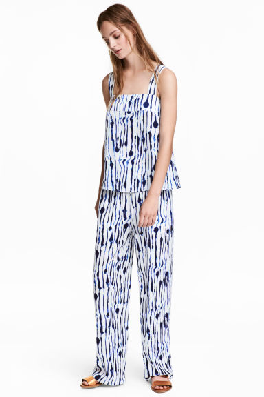 Wide trousers - White/Blue pattern - Ladies | H&M