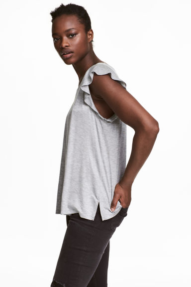 Jersey top - Grey marl - Ladies | H&M CN