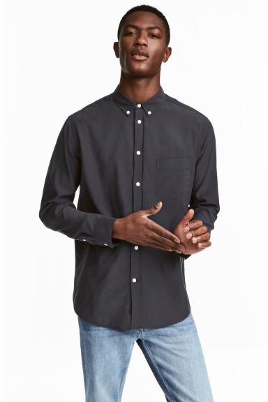 Cupro-blend shirt - Dark blue -  | H&M CN