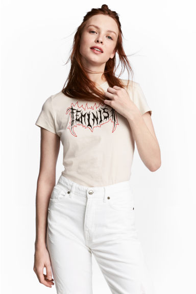 T-shirt with a print motif - Light beige/Feminism -  | H&M