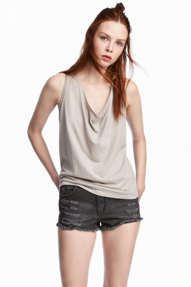 Draped vest top - Grey beige -  | H&M GB