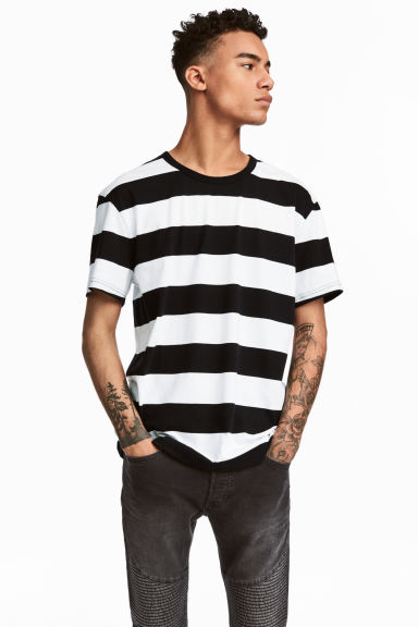 Striped T-shirt - White/Black - Men | H&M