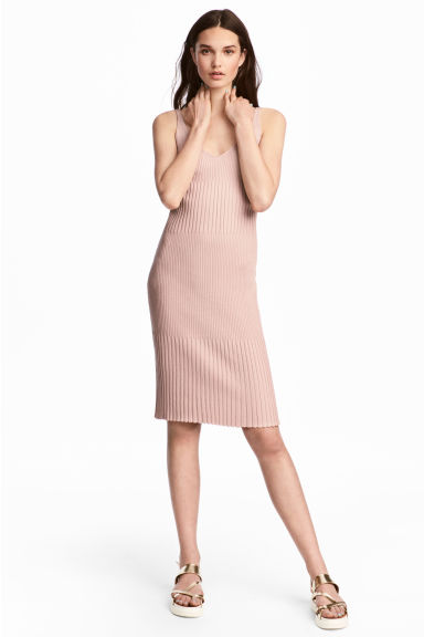 Ribbed dress - Powder pink - Ladies | H&M