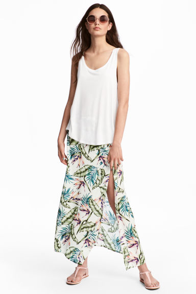 Long viscose skirt - White/Leaves -  | H&M GB