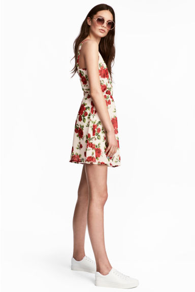 Patterned dress - White/Roses - Ladies | H&M CN