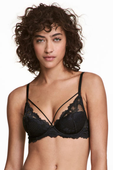Padded underwired lace bra - Black - Ladies | H&M IE