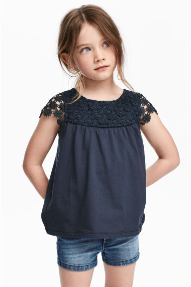 Jersey top with a lace yoke - Dark blue -  | H&M CN
