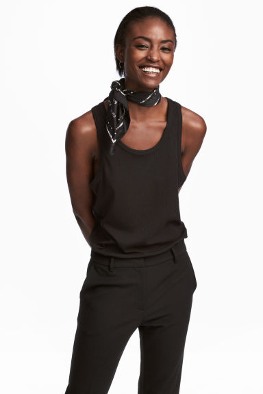 Ribbed jersey vest top - Black - Ladies | H&M CN