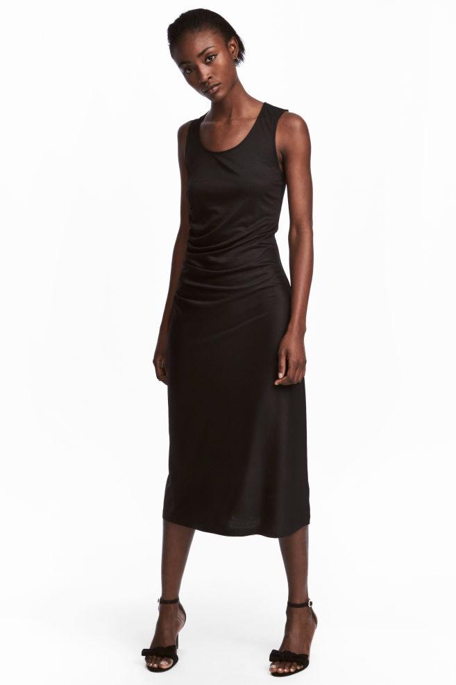 76cedfe1d94f66 Gedrapeerde jurk - Zwart - DAMES