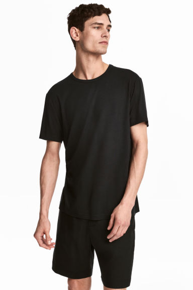 Viscose jersey T-shirt - Black - Men | H&M CN