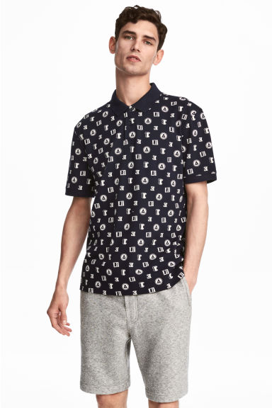Polo shirt - Dark blue/Patterned - Men | H&M CN