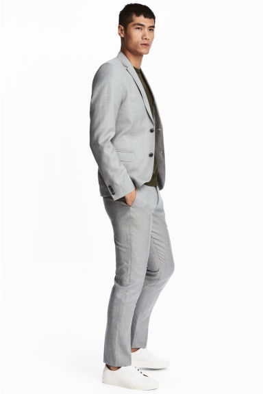 Wool suit trousers Slim fit - Light grey - Men | H&M IE