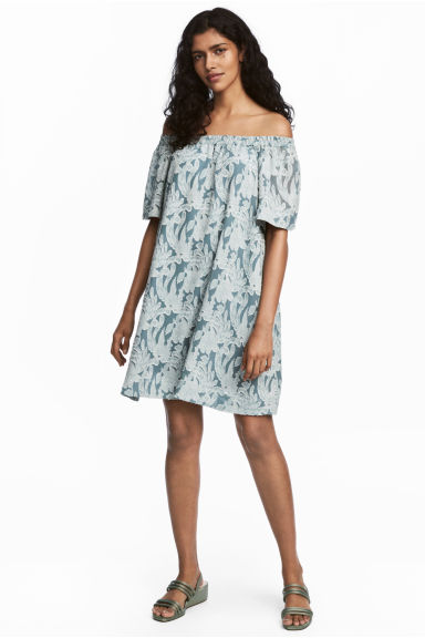 Silk-blend dress - Turquoise/Floral -  | H&M IE
