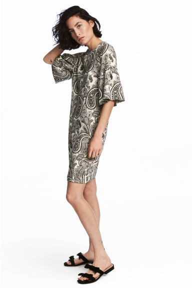 Flounce-sleeved dress - Light beige/Paisley -  | H&M