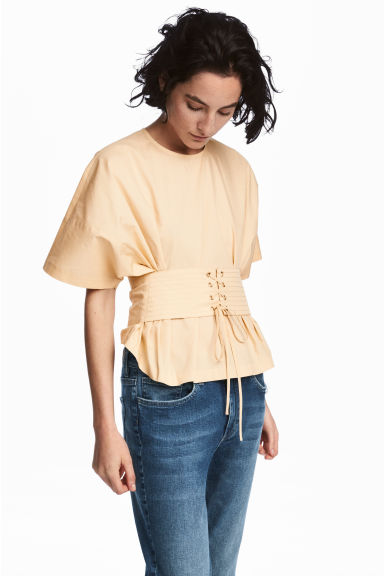Cotton corset blouse - Light beige -  | H&M