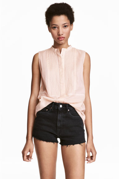 Sleeveless blouse - Light apricot - Ladies | H&M CN