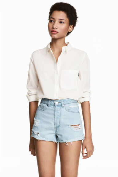 Short High Waist Shorts - Ljus denimblå/Trashed - DAM | H&M SE