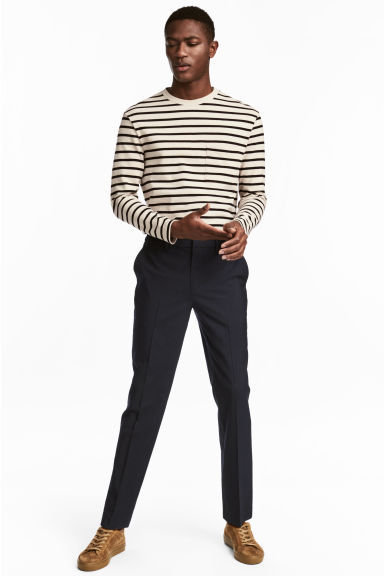 Elasticated wool trousers - Dark blue - Men | H&M