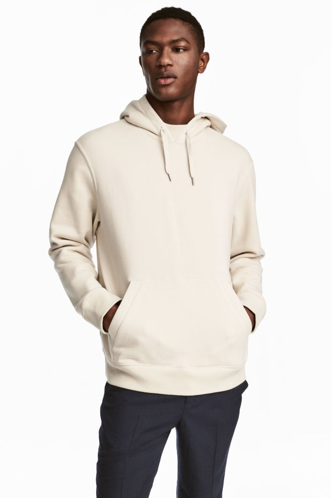 6c201c42625f Cotton Hooded Sweatshirt - Light beige - Men | H&M ...