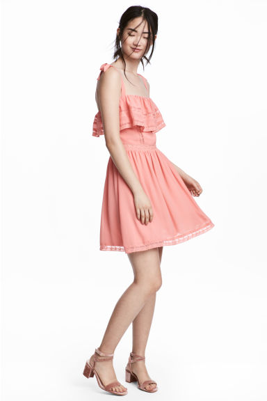 Lace-detail dress - Coral pink -  | H&M IE