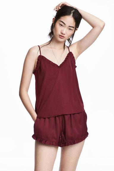 Satin strappy top - Burgundy - Ladies | H&M CN