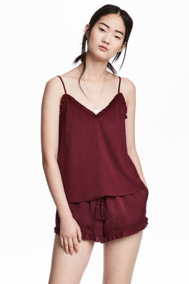 Satin shorts - Burgundy - Ladies | H&M
