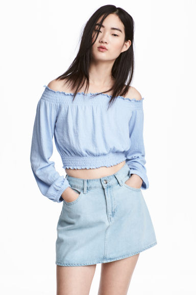 Off-the-shoulder top - Blue - Ladies | H&M CN