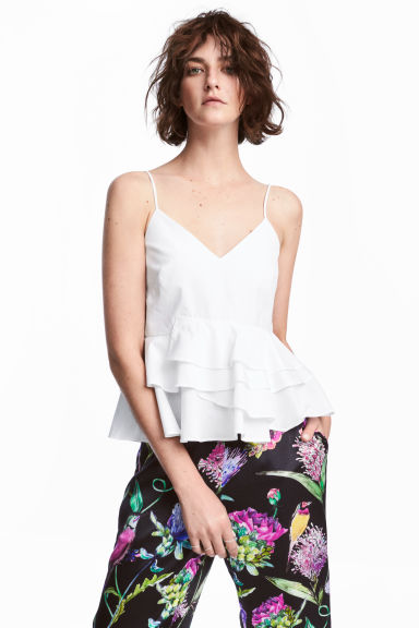 Top con volant - Bianco - DONNA | H&M IT