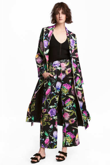 Satin coat - Black/Floral - Ladies | H&M GB