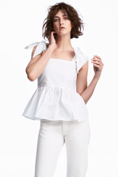 Flounced top - White -  | H&M