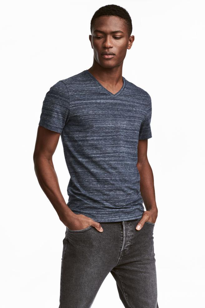 12e5835cb16 V-neck T-shirt Slim fit - Dark blue marl - Men