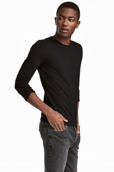 Jersey top Slim fit - Black -  | H&M CN