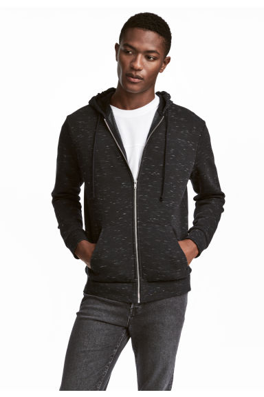 Sweat zippé Regular fit - Noir chiné -  | H&M FR