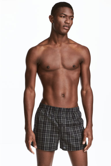 3-pack woven boxer shorts - Black/Checked - Men | H&M CN